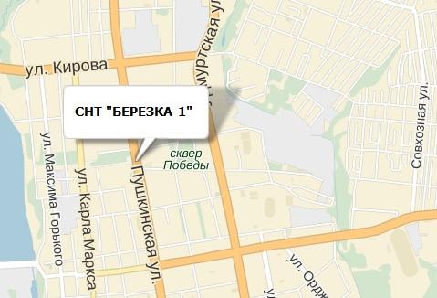 Схема проезда: СНТ Березка-1